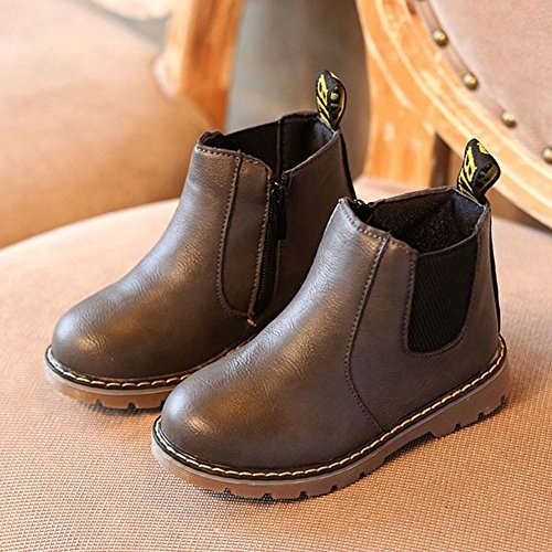Winter Kinder Schneestiefel Ankle Boots - hibote Jungen Mädchen Martin Stiefel Winddicht Warm Boots Schnee Stiefel Gummisohle Rutschfeste Schuhe Grau