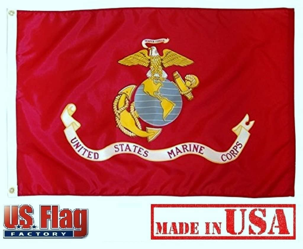 USMC U.S Marine Corps Indoor Outdoor Dyed Annin Poly Cotton Flag Grommets 3/'X5/'