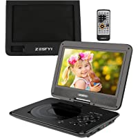 "ZESTYI 12"" Portable DVD Player for Kids with 10"" Swivel Screen, Car Headrest Mount Holder, Rechargeable Battery, Wall Charger, Car Charger, SD Card Slot, USB Port & Swivel Screen (Black)"