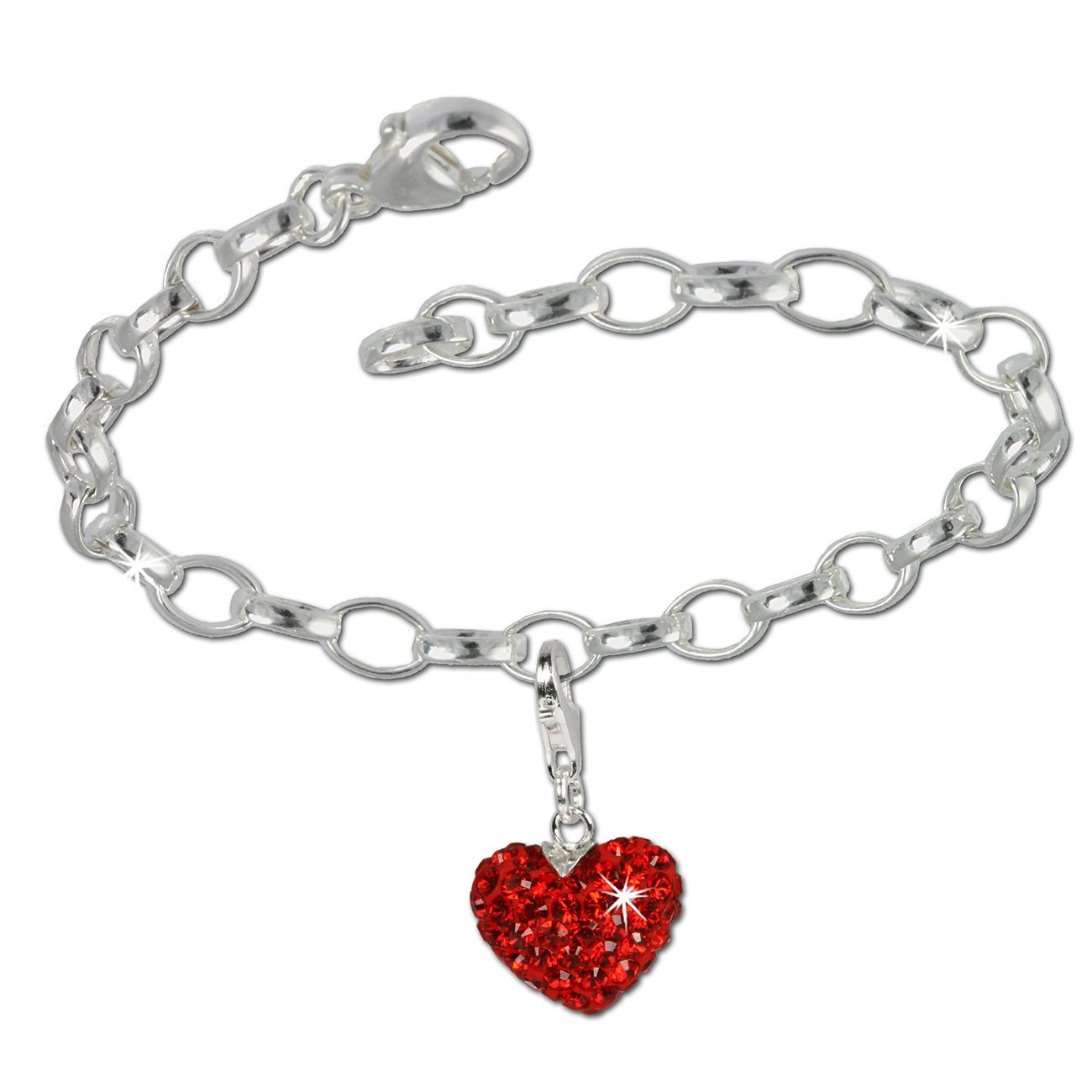 SilberDream Charms Kette Set - Liebe rot - Swarovski Kristalle 925 Sterling Silber Charm Armband - FCA130 Charms Sets