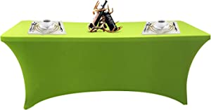 SEPARO 4\6\8FT Stretch Tablecloth Rectangular Spandex Table Cover for Outdoor Party DJ Tradeshows Banquet Vendors Weddings Celebrations, etc (Green, 1PC 4FT)