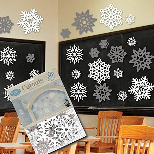 30 Piece Snowflake Decorations Cutouts Value (Winter Wonderland Prom Decorations)