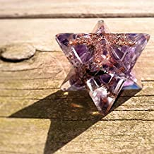 """Amethyst Orgone Merkaba Star """"The Sobriety and Spirituality Stone"""" Positive Energy Generator Crystals Lucid Dreaming Meditation Tools Sacred Geometry Tetrahedron Decor"""