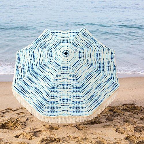 Beach Brella 5 Ft. Designer Chic Fiberglass Beach Umbrella with Telescopic Pole & Fringes - Seaview