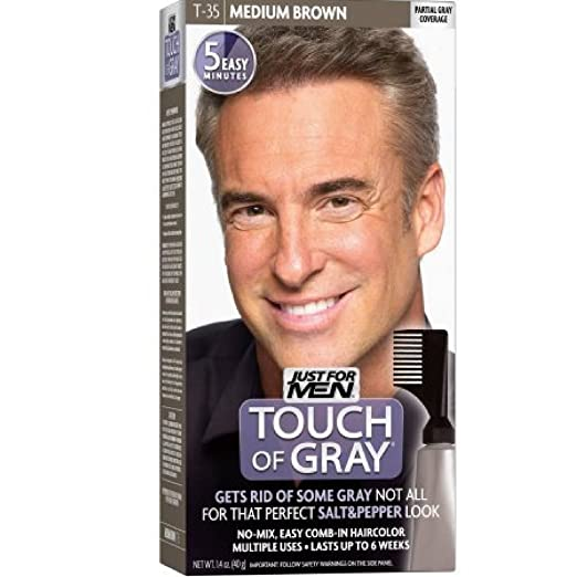Amazon.com : JUST FOR MEN Touch of Gray Haircolor T-35 Medium Brown ...