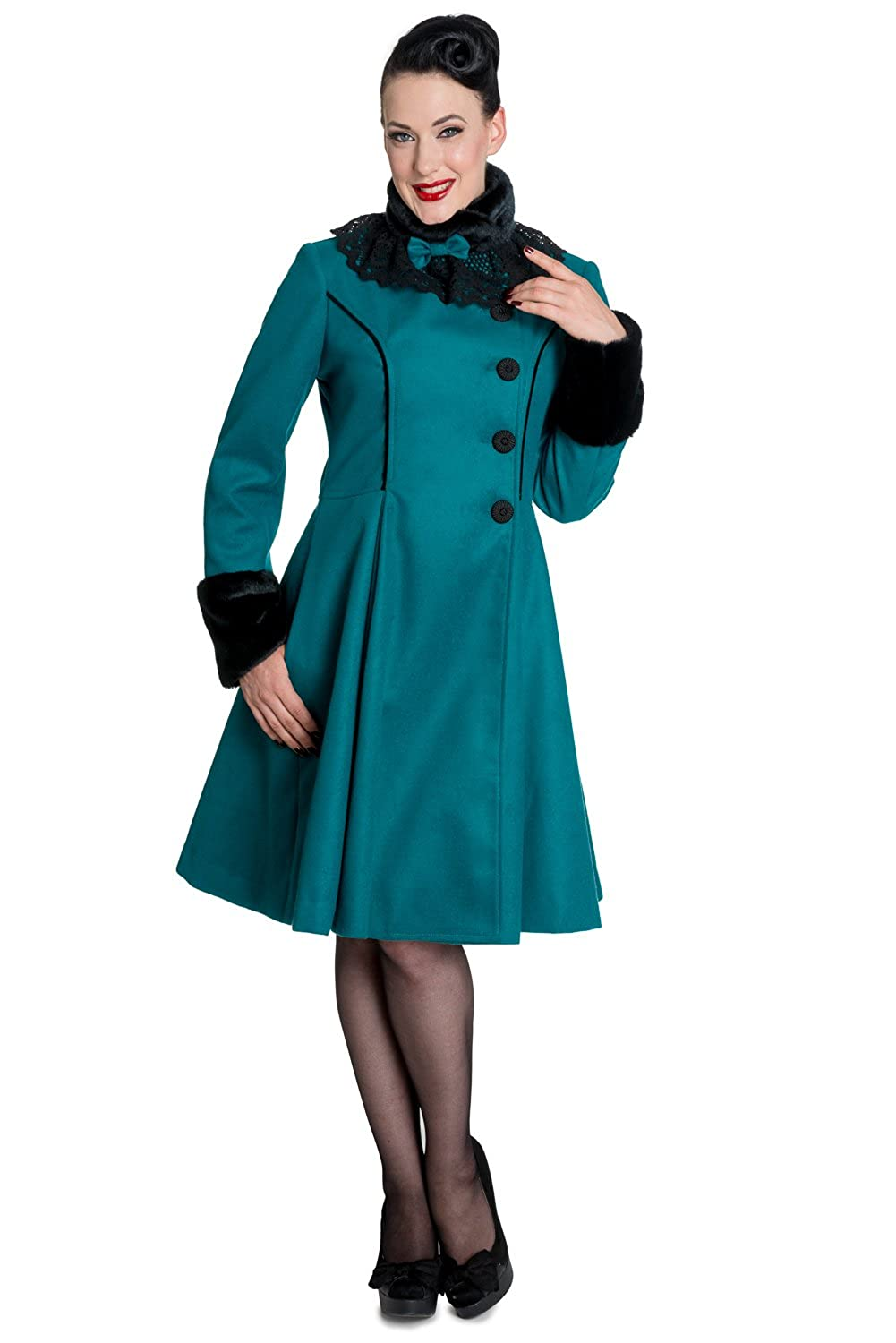 Vintage Coats & Jackets | Retro Coats and Jackets Hell Bunny Vintage Victorian Design Teal Green Angeline Winter Coat $169.00 AT vintagedancer.com