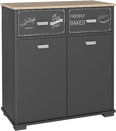 Abitti Buffet bajo de Cocina de 2 Puertas y 2 cajones Gris Grafito. 90 cm
