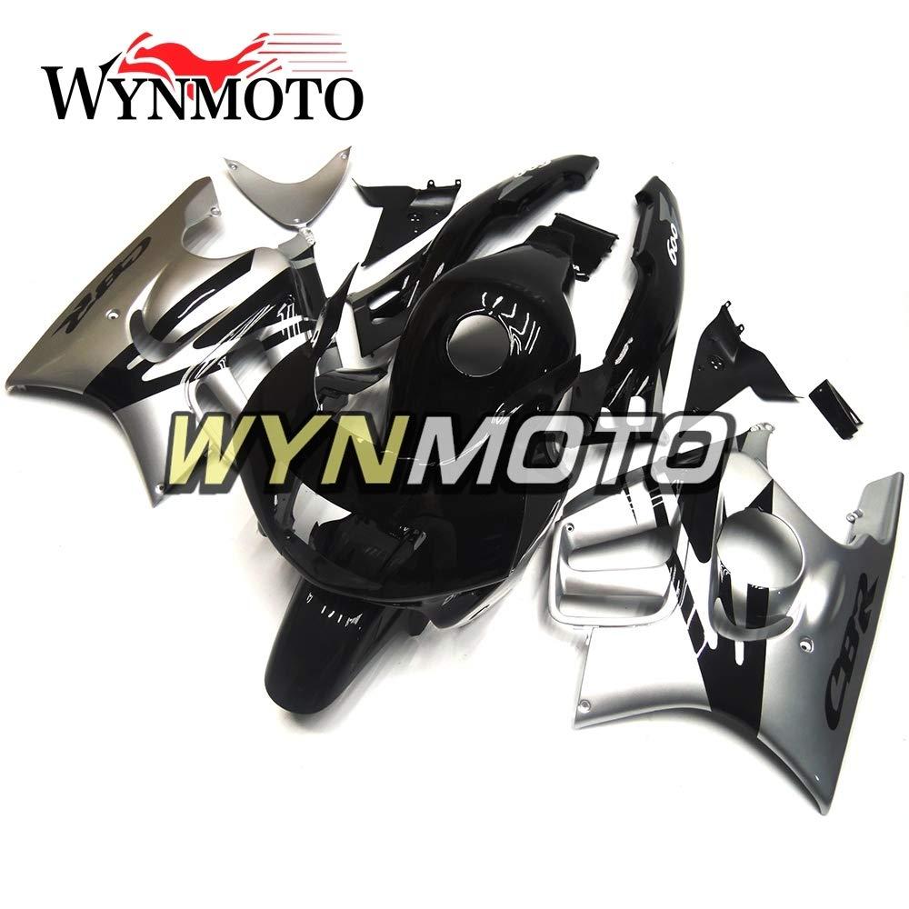 WYNMOTO 外装パーツセット適応ホンダ CBR600F3 CBR600 F3 1995 1996 95 96 インジェクションプラスチック ABS カウシルバーとブラックフェアキット   B076K28SGQ