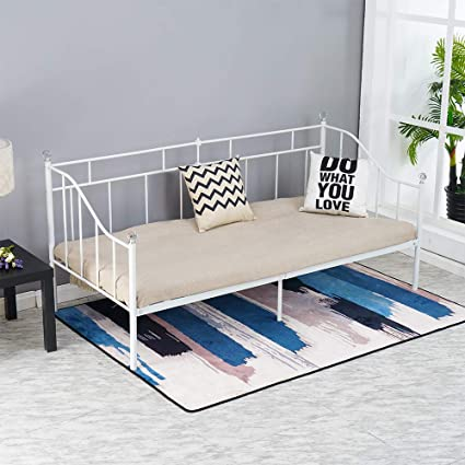 Surprising Salbay Metal Day Bed Frame 3Ft Single Daybed With Crystal Ball Guest Bed Frame Sofa Bed White Modern Short Links Chair Design For Home Short Linksinfo