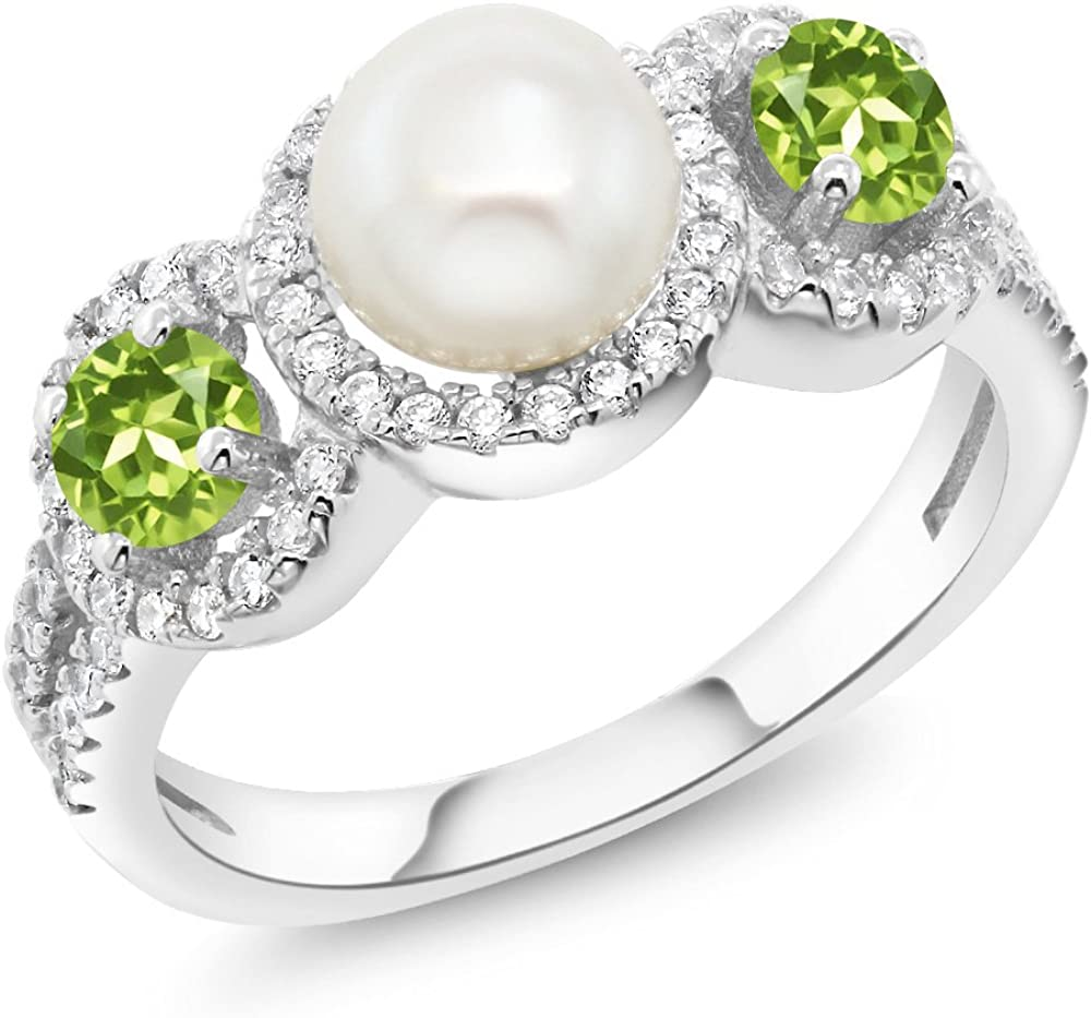 Gem Stone King 925 Sterling Silver Cultured Freshwater Pearl and Green Peridot Women's Ring 1.40 Ct Round (Available 5,6,7,8,9)