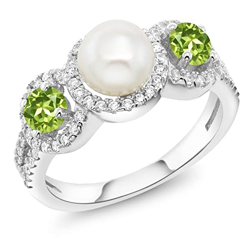 Gem Stone King 925 Sterling Silver Cultured Freshwater Pearl and Green Peridot Women s Ring 1.40 Ct Round Available 5,6,7,8,9
