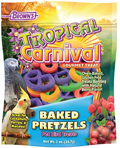 Macaw Bird Treats (F.M. Brown's Tropical Carnival Baked Pretzels Treat for Pet Birds, Gluten Free Chewing Treat for Cockatoos, Macaws, and Other Large Hookbills, 2oz)