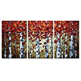 abstract tree painting - V-inspire Paintings, 20x30Inchx3 Paintings Oil Hand Painting Red Birch Trees Painting 3D Hand-Painted On Canvas Abstract Artwork Art Wood Inside Framed Hanging Wall Decoration Abstract Painting
