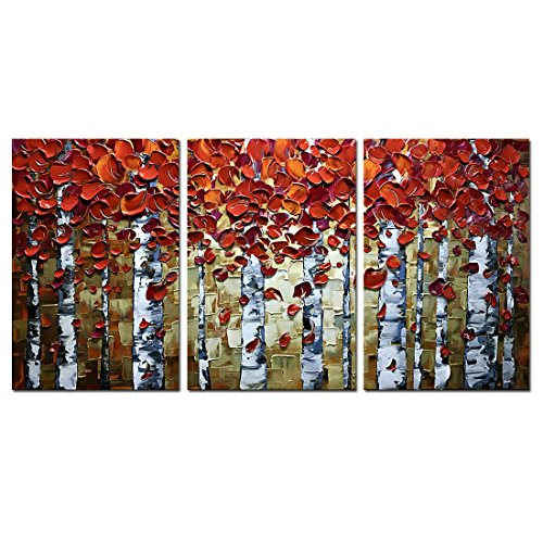 V-inspire Paintings, 20x30Inchx3 Paintings Oil Hand Painting Red Birch Trees Painting 3D Hand-Painted On Canvas Abstract Artwork Art Wood Inside Framed Hanging Wall Decoration Abstract (Art Abstract Oil Paintings Canvas)