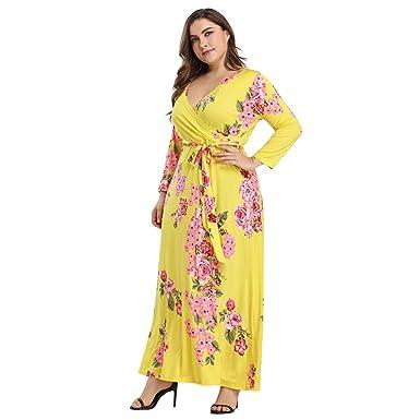 Amazon.com: ℱLOVESOOℱ Women Plus Size Floral Maxi Dress ...