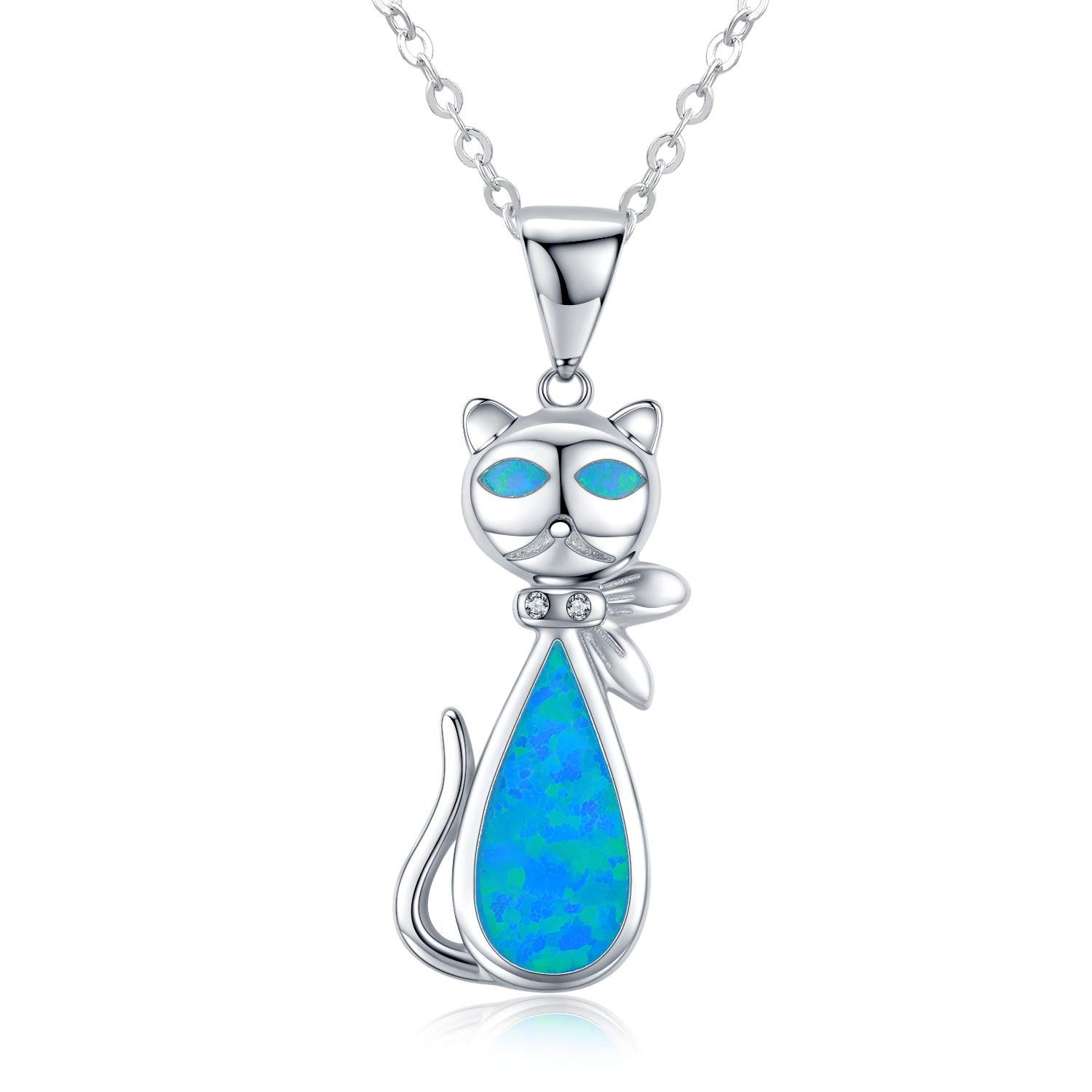 TANGPOET Blue Opal Cat Necklace for Women 925 Sterling Silver Dolphin Jewelry Graduation Gift