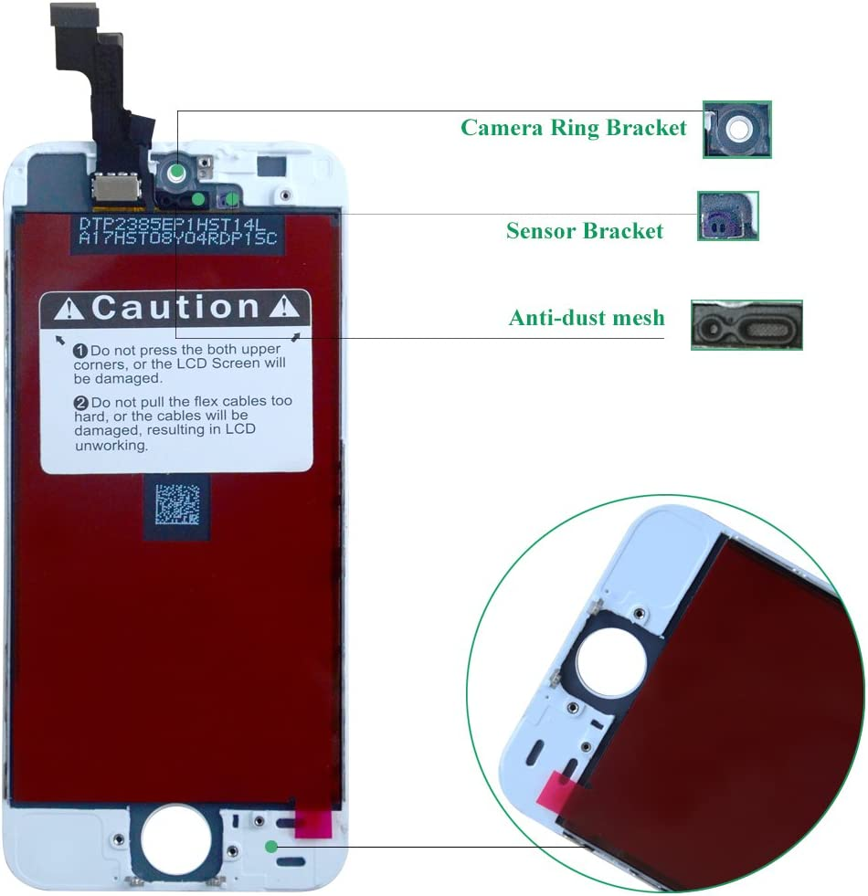 Instrucciones Pantalla T/áctil LCD Digitalizador de Pantalla de Herramientas Completas de Reparaci/ón Htechy Pantalla Compatible Para iPhone SE Negro Reemplazo