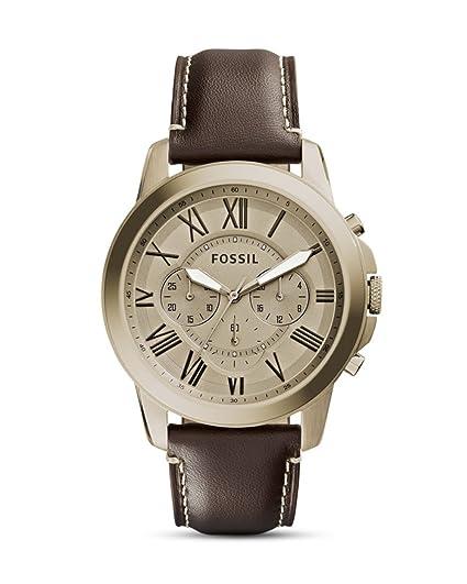 9822a47f5ca1 Fossil Reloj de hombre cuarzo cronógrafo correa de cuero color marrón caja  de acero dorado FS5107  Fossil  Amazon.es  Relojes