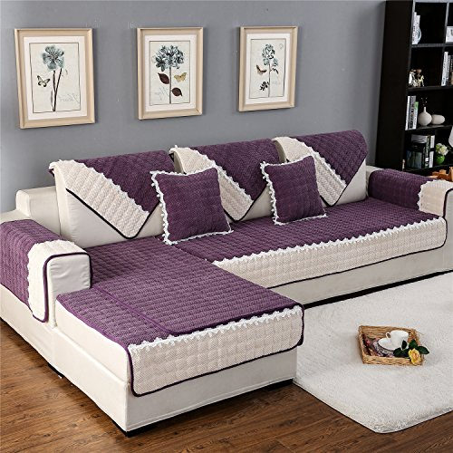 OstepDecor Multi-size Rectangular Quilted Furniture Protector and Slipcover for Pets, Kids, Dogs - Sofa, Loveseat, Recliner and Chair | Purple 28