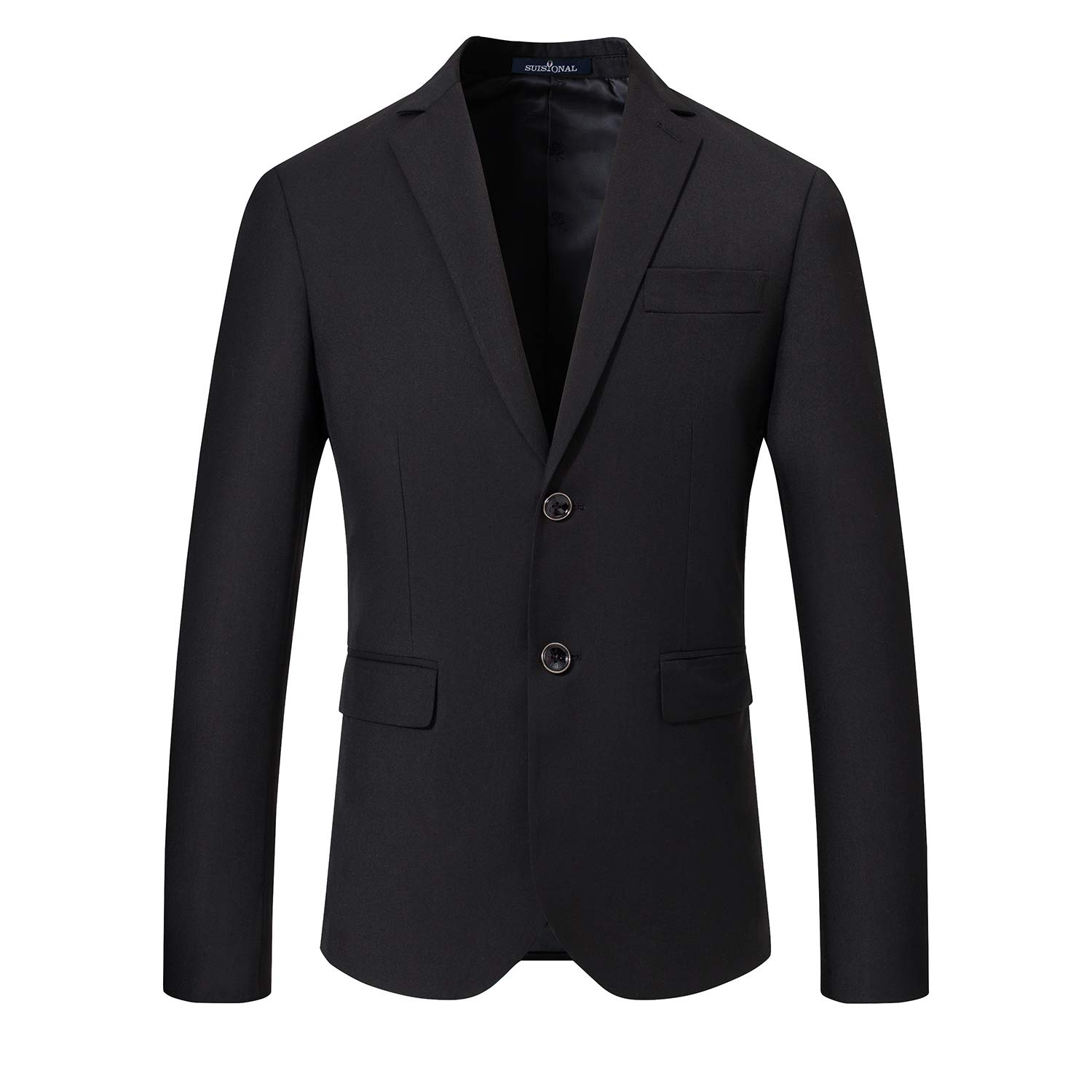 SuiSional Men's Classic Suit Jacket Casual Two Button Blazer Tuxedo,BlackXL by SuiSional