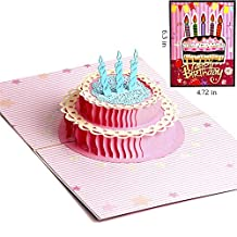 Paper Spiritz Happy Birthday Cake Upgrade 3D Pop up Greeting Card to Him Her Mom Matching Envelope Laser Cut Handmade Thank You Card Happy Birthday Mother's Day Post Card Gift( 2017 Newest, Pack of 1)