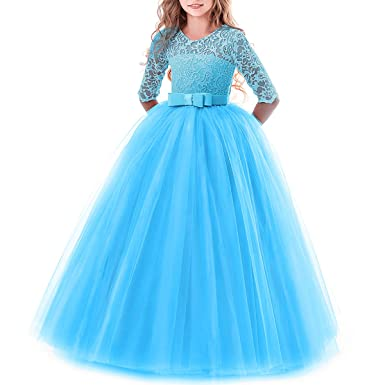 3358c0b94e4 Toddler Girl s Embroidery Tulle Lace Maxi Flower Girl Wedding Bridesmaid  Dress 3 4 Sleeve Long