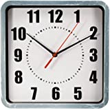 """TukTek Square Rustic Old Time Vintage Antique Gray Wall Clock for Home & Office w/ Distressed Look 9"""""""