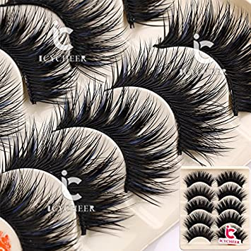 8b55b6d546c Image Unavailable. Image not available for. Color: 5 Pairs Makeup Long  Cross False Eyelashes ...
