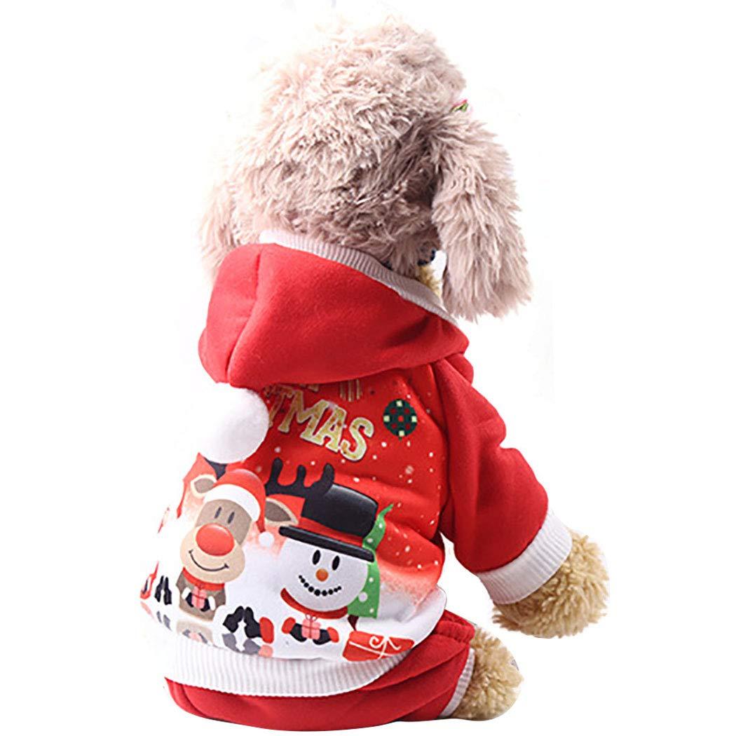 Legendog Weihnachten Haustier Kleidung niedlichen Cartoon Print mit Kapuze Hund Kostüm Haustier Kostüm Bekleidung