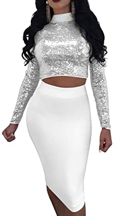6a2dbe142c Hurrg Womens Sexy Sequins Crop Top Bodycon Midi Skirt Club Set 2 Piece at Amazon  Women's Clothing store: