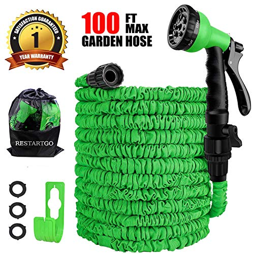 Restartgo 100FT Garden Hose Reel Expandable 3 Times TPE Super-Strength High Pressure Flexible Water Hose,8-Function High-Pressure Spray Nozzle with 3/4″ Solid Fittings Comes with Free Hose Holder