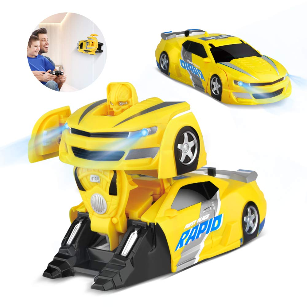 Baztoy Remote Control Car Transform Toys for 3, 4, 5+ Year Old Boys Girls One Button to Robot Deformation Driving on Wall RC Racing Vehicle 360° Rotation Stunt with LED Light for Kids Gifts by Baztoy