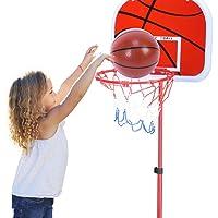 VGEBY - Juego de baloncesto portátil, altura ajustable, soporte de baloncesto con bola y bomba para interior y exterior