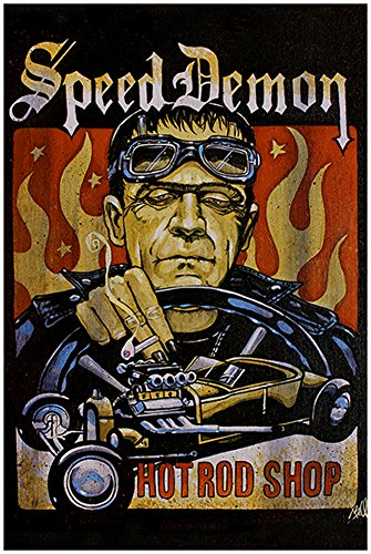 Speed Demon by Mike Bell Frankenstein Monster Hot Rod Roadster Art Poster -