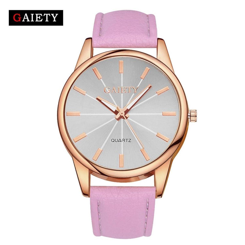 レディースシンプルレザー腕時計、Sinma Radiationゴールドフレーム腕時計アナログクオーツラウンド腕時計 B071NVNKVW オレンジ