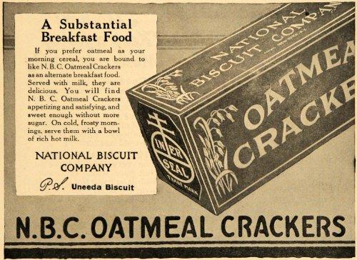 1918 Ad N. B. C. Oatmeal Crackers Uneeda Biscuit Box - Original Print Ad