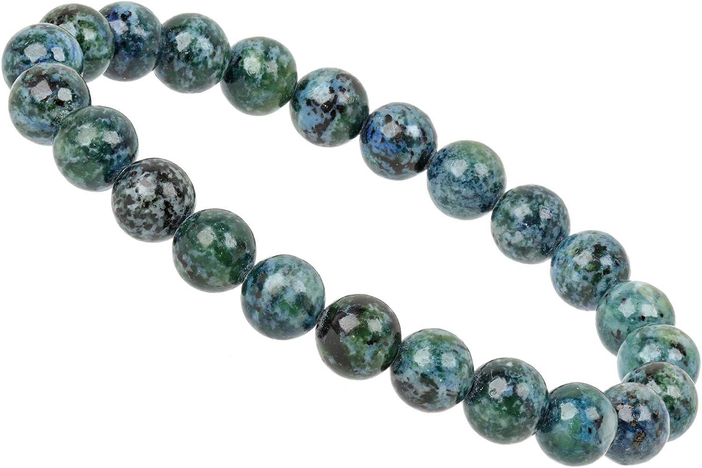 ELEDORO PowerBead - Pulsera elástica para Mujer con Perlas de Piedras Preciosas (8 mm, 17-18 cm), Color Azul