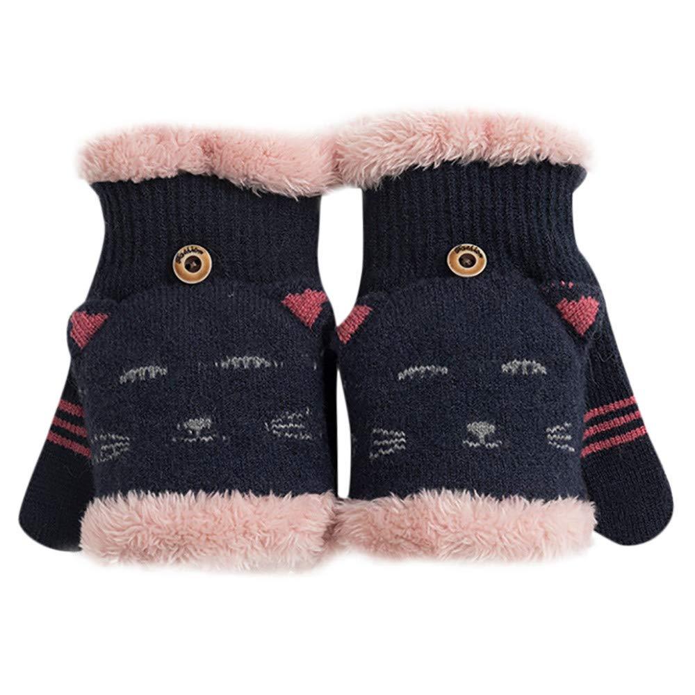 Cinnamou Winter Fashion Women Girls Cute Cat Flip Cover Mittens Gloves Winter Female Fingerless Warm Fur Velvet Gloves