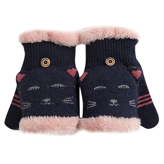 2262ee36c8e15c Damen Mädchen Halbfinger Handschuhe fingerlose Handschuhe warme Strick  Handschuhe mit Flip Top: Amazon.de: Bekleidung