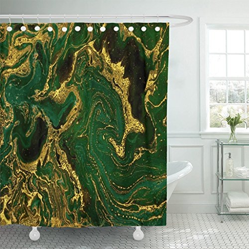 TOMPOP Shower Curtain Watercolor Gold Marble Abstract Mineral Green Golden Waves Pattern Waterproof Polyester Fabric 60 x 72 Inches Set with ()