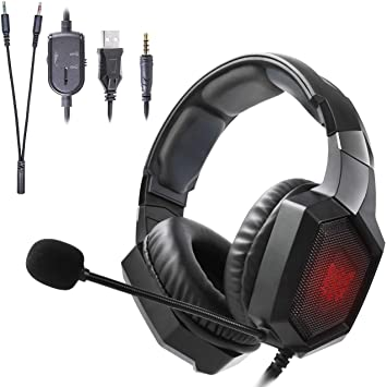 Auriculares Gaming, Onikuma K8 Gaming Headset RGB LED Auriculares para Videojuegos PS4 Xbox One, 3.5mm, con Micrófono, Estéreo, Cancelación de Ruido para PC/Tableta/Movil (Negro): Amazon.es: Electrónica