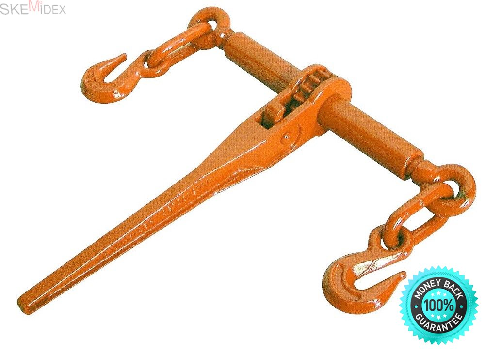 """SKEMiDEX---Ratcheting Load Binder 5/16'' to 3/8'' Chain Ratchet Boomer Tie Down Rigging NEW. 5/16"""" – 3/8"""" Ratchet Chain Load Binder Forged Steel Quenched & Tempered"""