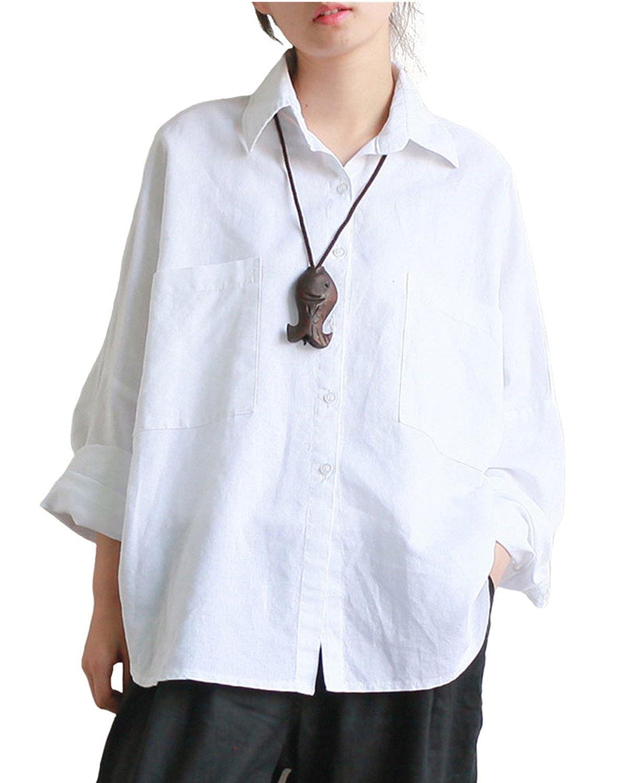 Aeneontrue Women's Linen Raglan Sleeve Loose Button Down Shirts Blouses Front 2 Big Pockets