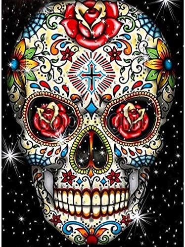 Diamond Painting Rose Skeleton Kit for a Adults Full Drill Paint with Diamond Art DIY Skull Painting via Number Kits Nightmare Gem Art Wall Home Decor 12x16inch