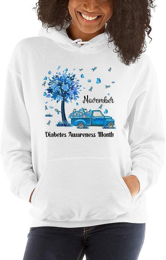 TEEPOMY November We Wear Blue Diabetes Awareness Unisex Hoodie