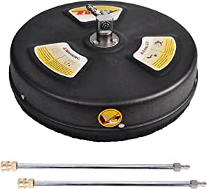 """TOOLCY 15"""" Pressure Washer Surface Cleaner, Stainless Steel Housing & 1/4"""" Quick Connector, Power Washer Attachment with 2 Extension Wand, 4000 PSI"""