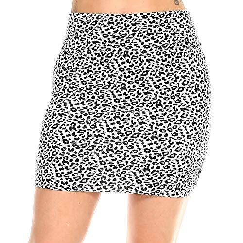 Fashionazzle Women's Casual Stretchy Bodycon Pencil Mini Skirt (Large, KS05-#20 White/Black)