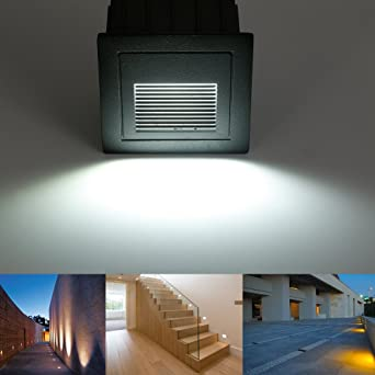 1pcs LED Escaleras Aluminio 230 V 3 W Cristal apliques luz escaleras con cajetín Escaleras Luz Lámpara de pared IP65: Amazon.es: Iluminación