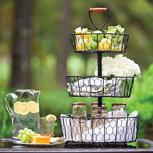 Handcrafted Rustic Wrought Iron 3-Tier Chicken Wire Countertop Basket for Fruit, Vegetables or Cosmetics by Basket Stand (Image #3)