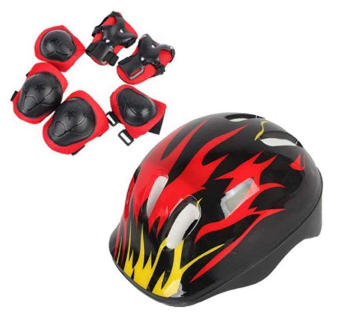 TUPWEL 1Set Adjustable Protective Gear Set 8-14 Years Old Children Safeguard Elbow Helmet Wrist Knee Pads for Cycling Skating Skateboard Skating Skate Skateboarding Child Outdoor Sports Boys